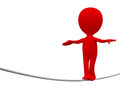 Red person rope walker white background Royalty Free Stock Photo