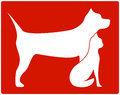 Red pet icon with dog and cat white silhouette Royalty Free Stock Photos
