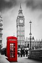 Red phone booth and big ben in london england uk telephone the people walking rush the symbols of black on white Stock Images