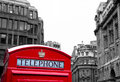 Red phone booth in london Stock Photo