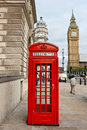 Red phone booth. London, England Royalty Free Stock Photo