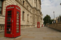 Red phone booths near whitehall in london symbol of great britain Stock Photography