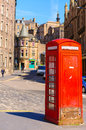 Red phone booths on the street in edinburgh Royalty Free Stock Photography