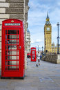 Red phone box with Big Ben Royalty Free Stock Photo