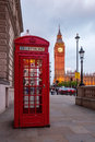Red phone box in front of the Big Ben in London Royalty Free Stock Photo