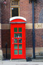 Red phone box traditional in the rocks area of sydney nsw australia Royalty Free Stock Images