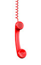 Red phone receiver clipping path d render Royalty Free Stock Image