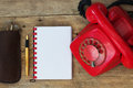 Red Phone on Table Royalty Free Stock Photo