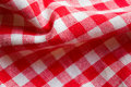 Red picnic cloth closeup Royalty Free Stock Images