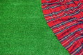 Red Picnic Tartan Empty Blanket On The Fresh Trimmed Grass Royalty Free Stock Photo