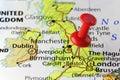 Red pin on Birmingham, England, UK