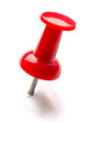 Red pin or thumbtack isolated on white background Royalty Free Stock Photo