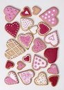 Red and pink heart cookies on a white background Royalty Free Stock Image