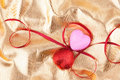 Red and pink heart and satin ribbons Royalty Free Stock Photo