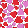 Red and pink hearts seamless pattern a with isolated on white background useful also as design element for st valentines or saint Royalty Free Stock Photography