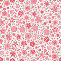 Red pink modern flower seamless pattern