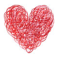 Red and Pink Scribbled Heart Royalty Free Stock Photo