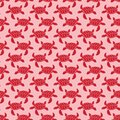 Red on pink turtle geometric pattern seamless repeat background