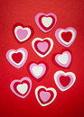 Red and pink valentines day hearts romantic white for Stock Photography
