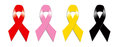 Red Pink Yellow and Black Ribbon Royalty Free Stock Photo
