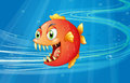 A red piranha under the sea illustration of Stock Images