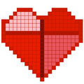 Red pixel heart vector illustration of Stock Images
