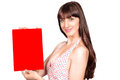 Red placard woman cute smiling female with for your message Royalty Free Stock Images