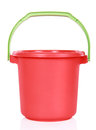 Red plastic bucket isolated over white background Royalty Free Stock Photos