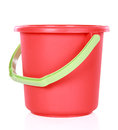 Red plastic bucket isolated over white background Royalty Free Stock Photography