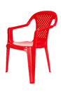 Red plastic chair isolated on a white background Royalty Free Stock Photos