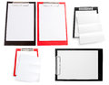 Red plastic clipboard with blank paper sheet isolated on white