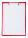 Red plastic clipboard with blank paper sheet