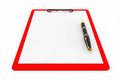 Red Plastic clipboard with Fountain Pen