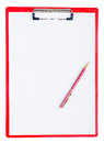 Red plastic clipboard with a pen