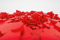 Red plastic columns arranged like steps d render Stock Images
