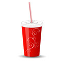 Red plastic cup with lid and straw on a white background Stock Photography