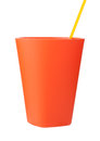 Red plastic cup with straw isolated on white background Royalty Free Stock Photos