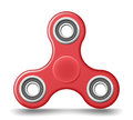 Red plastic hand fidget spinner toy - stress and anxiety relief. Realistic vector illustration