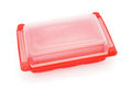 Red plastic rectangle food tray with lid on white background Stock Image