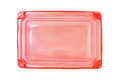 Red plastic rectangle food tray with lid on white background top view Royalty Free Stock Photography