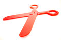 Red plastic scissors toy a pair of big Stock Photos