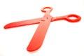 Red plastic scissors toy a pair of big Stock Photos