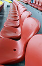 Red plastic seats Stock Photo