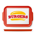 Red Plastic Tray Salver Vector. Classic Rectangular Red Plastic Tray. Good For Advertising, Branding Design. Top View