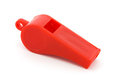 Red plastic whistle Stock Image