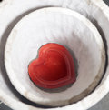 Red plate in the form of the heart Royalty Free Stock Photo
