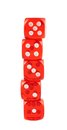 Red playing dices isolated pile of over white background Royalty Free Stock Photos
