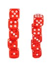 Red playing dices isolated pile of over white background set of two foreshortenings Royalty Free Stock Photo