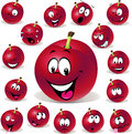 Red plum cartoon illustration with many expression expressions on white background Stock Photos