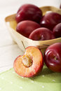 Red plums close-up Royalty Free Stock Photos